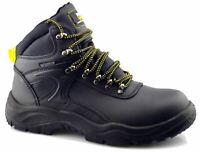 Mens Safety Waterproof Leather Hiking Lace Up Ankle Worker Boots Shoes Size