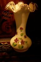Fenton Silver Crest Milk Glass Hand Painted Lillies Vase