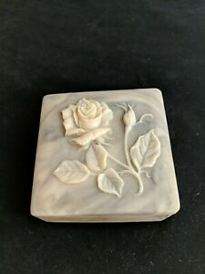 Incolay Hinged Box Grey Rose Flower