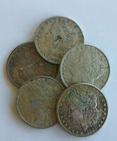 LOT OF 5 UNITED STATES MORGAN SILVER DOLLARS from estate random dates