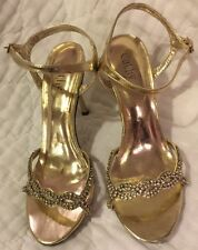 ❤️Cathy Jean  Gold Lame Rhinestone Sandal Heels Size 8 Pageant Ankle Strap EUC