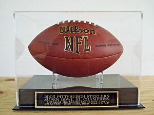 Pittsburgh Steelers Football Display Case With A Super Bowl 40 Nameplate