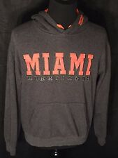 Miami Hurricanes Ncaa College Embroidered Mens Large L Gray Hoodie Sweatshirt