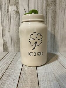 """New RAE DUNN St Patrick's Day """"POT O' GOLD"""" Canister With Green Handle"""