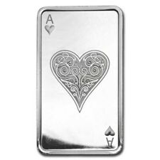 10 oz troy silver BAR PLAYING CARDS ACE OF HEARTS .999