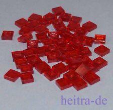 LEGO - 50 x Fliese Kachel 1x1, transparent - rot / transrot / 3070b NEUWARE