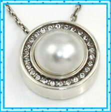 Brighton Silver Crystals Pearl Chara Ellipse Short Pendant Layer Necklace
