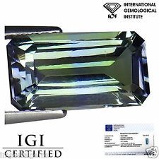 3.21 Ct IGI Certified AA Natural D Block Tanzanite Violet Green Emerald Cut