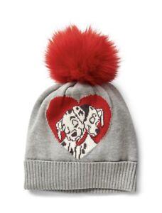 Gap Baby Girl Disney Pom Beanie Hat Gray Red Size S / M Small / Medium / 19 CM