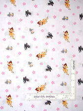 Disney Bambi Fabric - Bambi Skunk Rabbit Woodland Dreams CP49001 White - Yard