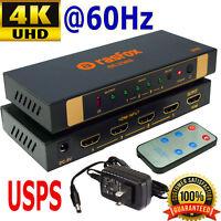 Rasfox 4K 60Hz 4x1 HDMI 2.0 Switch Switcher Selector Splitter + Remote, DHCP 2.2