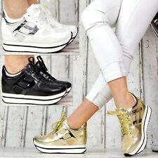 Neu XXL Plateau Sneaker Damenschuhe Wedge Sportschuhe Glitzer Absatz SeXy