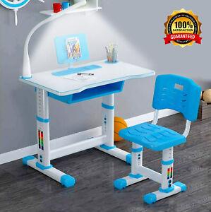 Kinderschreibtisch Schreibtisch Jugendschreibtisch Verstellbar mit Stuhl & Lampe