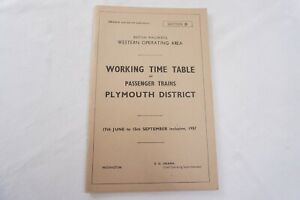 1957 Western Region Railway Working Timetable Section D Plymouth District