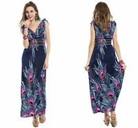 810311856c4 Ladies Dark Blue Printed Long Maxi V Neck Beach Summer Party Dress 10 12 14