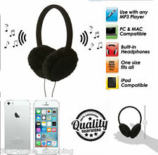 WOMANS BLACK MUSIC paraorecchie con costruito in AUDIO CUFFIE AURICOLARI IPOD MP3