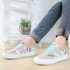 Womens Fashion Lace Up Shoes Sneakers Casual Flat Athletic Sport Floral Canvas