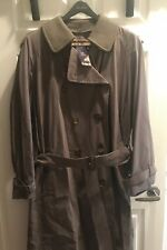 Vintage BURBERRY Classic Men's Olive Belted Trench Coat Wool Liner 44L WOW NWT