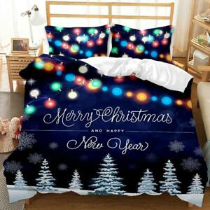 Kids Christmas Quilt Doona Duvet Cover Set Single Double Queen King Size Bed AU