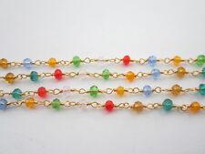1 metro catenina rosario color oro concatenata cristalli mix color  di 3,5 mm 6g