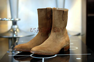 New Handmade Mens Beige Suede Leather High Boots with Zipper, Zipup Boots