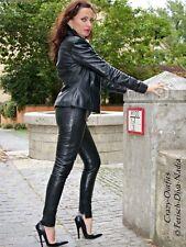 Pantalon Cuir Pantalon en Cuir Noir Moulante Leggings US 12 M 42