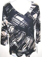 Dana Buchman Signature Cotton Blend Black & Tan Geometric Print Top Sz S NWT