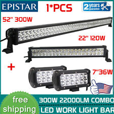 """52Inch 300w Led Off road Light Bar Combo + 22in +7"""" CREE pods 4x4 Switch Jeep 20"""