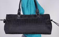 Kate Spade Medium Black Leather Fabric Shoulder Hobo Tote Satchel Purse Bag