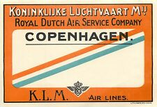 KLM / ROYAL DUTCH AIR SERVICE Co. ~COPENHAGEN~ Scarce Luggage Label, 1924