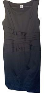Belle By Oasis Women Black Sleeveless Bodycon Midi Satin Dress Size 14