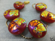"Pebbles - Handmade Dichroic Glass Bracelet 7 1/4"", 18.2 cm with Fold over Clasp"
