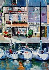 Honfleur France Harbor Cafe Sailboats Ltd Edition ACEO Print Art Yary Dluhos .