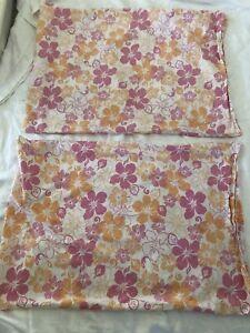 Set of 2 Pottery Barn Teen Pink Orange Hibiscus Flower Standard Pillowcases