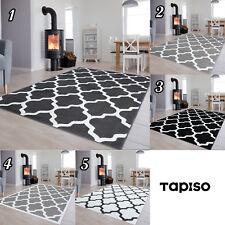 Dekoration Kurzflor Teppich Gitter in Grau Schwarz Weiß Modern Muster Wohnzimmer