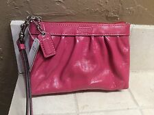 NWT Coach Raspberry Patent Leather Pleated Wristlet/Wallet/Cosmetic Bag  #43432