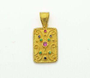 Byzantine Pendant Mid Century Ruby Yellow Gold Plated Multistone Women Silver
