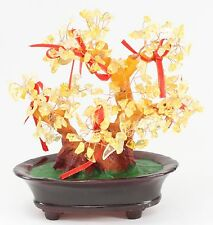 "Feng Shui Yellow Citron Crystal Money Tree 8.5"" Office Home Decor Luck / Wealth"