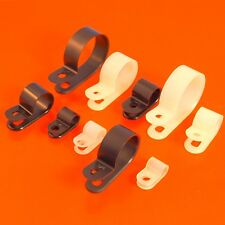 High Quality Black & White Nylon Plastic P Clips - Fasteners for Cable & Tubing