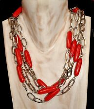And Red Resin Sautoir Necklace Gorgeous Art Deco Style Chrome