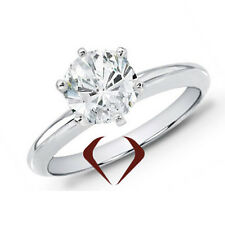 1.09 CT H SI1 14K White Gold Round Diamond Solitaire Ring 6.49mm center   size 7