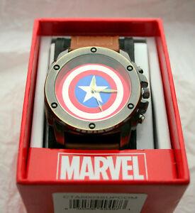 Marvel Comics Avengers Captain America Shield Watch Mens New Box Cloth Strap