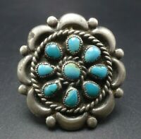 Vintage NAVAJO Sterling Silver TURQUOISE Petit Point Cluster RING size 6.75