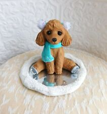Poodle Ice Skating Sculpture Dog lover Gift Clay Mini by Raquel at theWRC