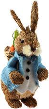 More details for large 35cm tall easter bunny natural figurine ornament - blue jacket