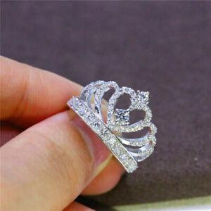 925 Silver Romantic Princess Crown Heart Bridal Wedding Ring Jewelry Gift Sz6