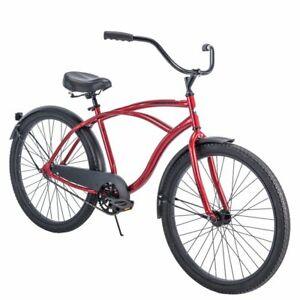 Mens Beach Cruiser Bicycle 26 Inch Adult Men Comfort Ride Bike Single Speed Red