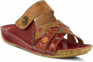 L'Artiste by Spring Step Women's Leigh Leather Slide Sandal in Red Multi