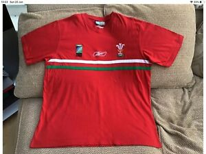 """Mega rare Reebok Wales Rugby World Cup 2003 Training T-Shirt Size 46-48"""""""