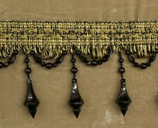 5 Yards Beaded FRINGE Trim for DRAPERY and UPHOLSTERY in (Camel / Black)